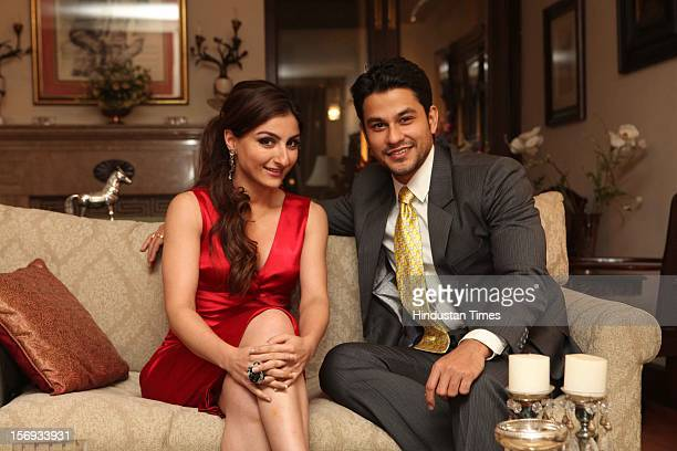 Actor Soha Ali Khan with her boy friend Kunal Khemu during profile shoot for HT City on November 7 2012 in New Delhi India