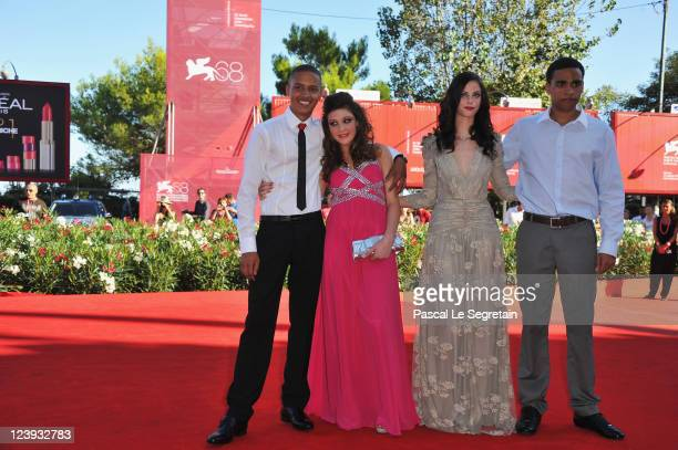 Actor Solomon Glave actresses Shannon Beer and Kaya Scodelario with actor James Howson attend the Wuthering Heights premiere during the 68th Venice...