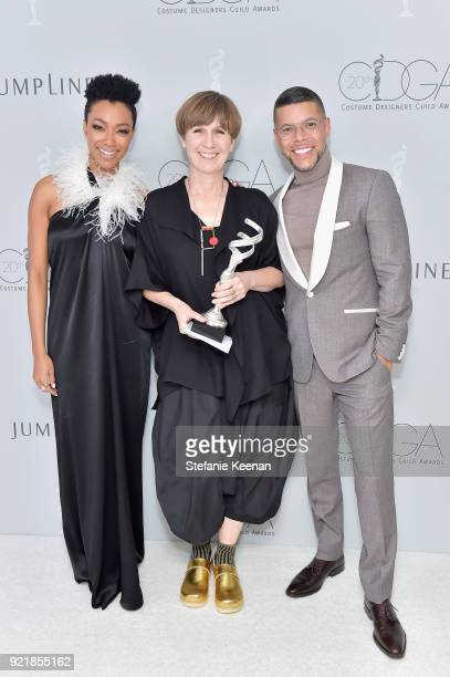 Actor Sonequa MartinGreen costume designer Jane Petrie winner of the Excellence in Period Television award for 'The Crown' and actor Wilson Cruz...
