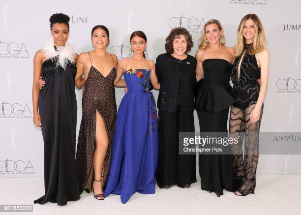 Actor Sonequa MartinGreen host Gina Rodriguez actor Sarah Hyland actor Lily Tomlin actor June Diane Raphael and actor Brooklyn Decker attend the...
