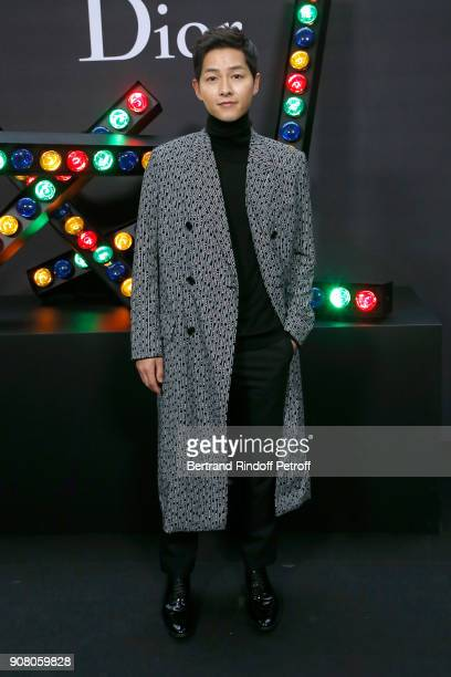 Actor Song Joong Ki attends the Dior Homme Menswear Fall/Winter 20182019 show as part of Paris Fashion Week on January 20 2018 in Paris France
