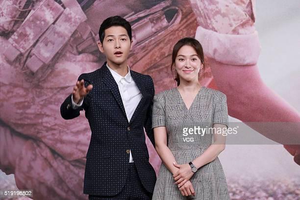Actor Song Joongki and actress Song Hyekyo attend television drama 'Descendants of the Sun' press conference on April 5 2016 in Hong Kong Hong Kong