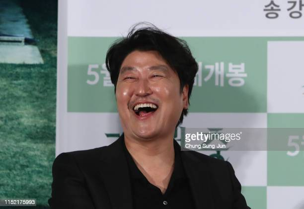 Actor Song Kangho attends the press conference for Parasite on May 28 2019 in Seoul South Korea