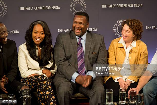 Actor Sonja Sohn Wendell Pierce and producer Nina Noble at Paley Center For Media on October 16 2014 in New York New York