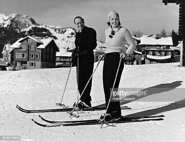 Actor Sonnie Hale and his wife the actress Jessie Matthews on a skiing holiday in Wengen Switzerland 1938
