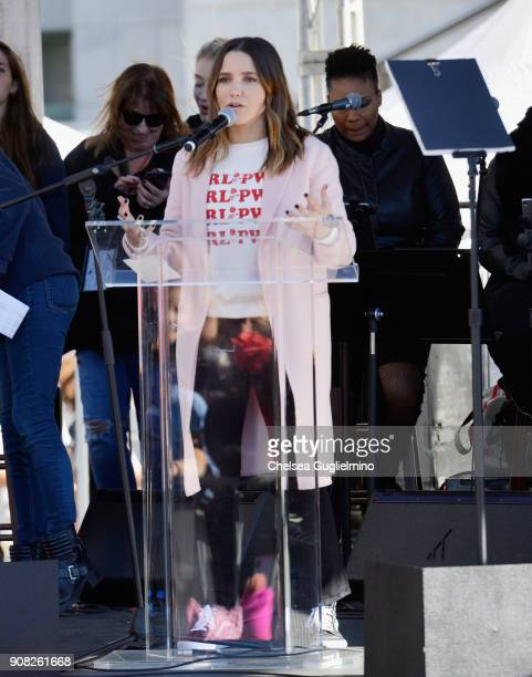 Actor Sophia Bush speaks during the Women's March Los Angeles 2018 on January 20 2018 in Los Angeles California