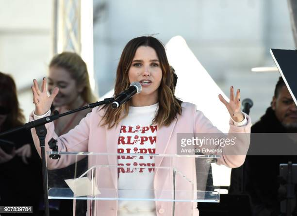 Actor Sophia Bush speaks onstage at 2018 Women's March Los Angeles at Pershing Square on January 20 2018 in Los Angeles California