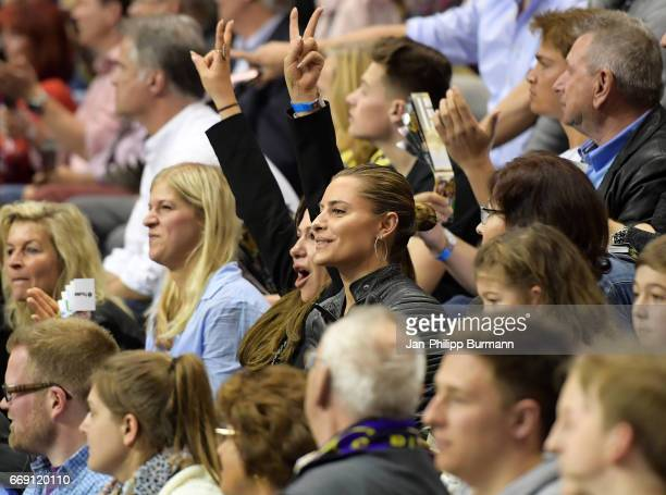 actor Sophia Thomalla with her mother during the game between Fuechse Berlin against SG FlensburgHandewitt on february 1 2017 in Berlin Germany