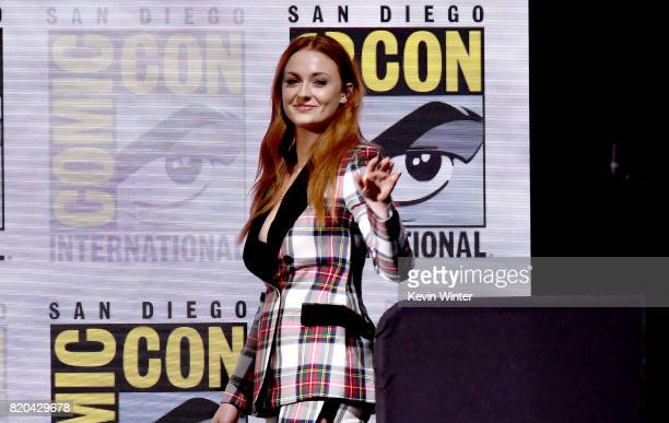 Actor Sophie Turner walks onstage at ComicCon International 2017 'Game Of Thrones' panel And QA Session at San Diego Convention Center on July 21...