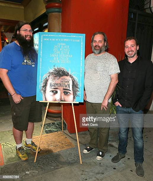 Actor Spencer Crittenden producer Neil Berkeley and actor Dan Harmon at the special screening of The Orchard's 'Harmontown held at the Vista Theatre...