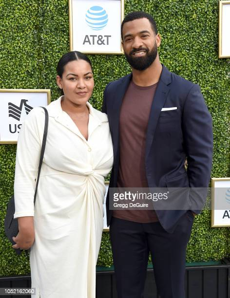 Actor Spencer Paysinger and Blair Paysinger arrive at The CW Network's Fall Launch Event at Warner Bros Studios on October 14 2018 in Burbank...
