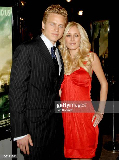 Actor Spencer Pratt and actress Heidi Montag arrive at the Los Angeles Premiere 'Cloverfield' at Paramount Studios on January 16 2008 in Los Angeles...