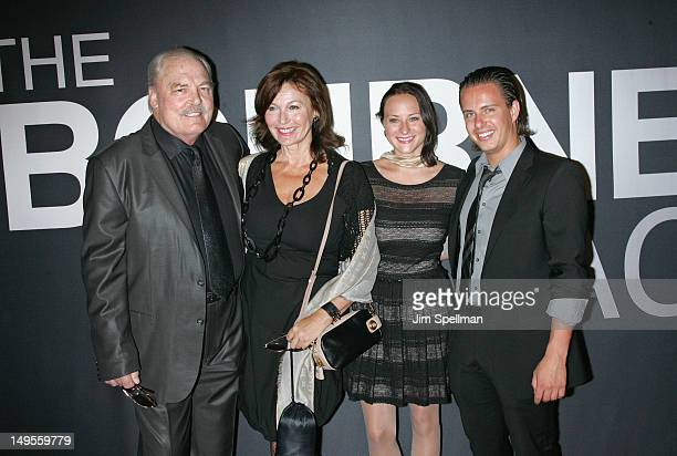 Actor Stacy Keach and family wife Malgosia Tomassi daughter Karolina Keach and son Shannon Keach attend The Bourne Legacy New York Premiere at...