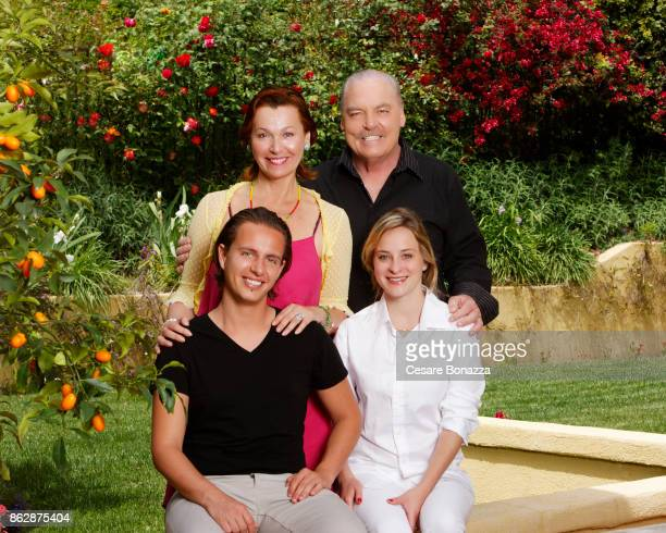 Actor Stacy Keach with his family wife Malgosia Tomassi and children Shannon and Karolina photographed at home on April 28 in Los Angeles California