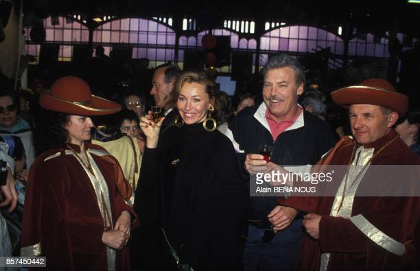 Actor Stacy Keach with wife Malgosia Tomassi intronised by Confrerie during Cognac Film Festival on April 1993 in Cognac France