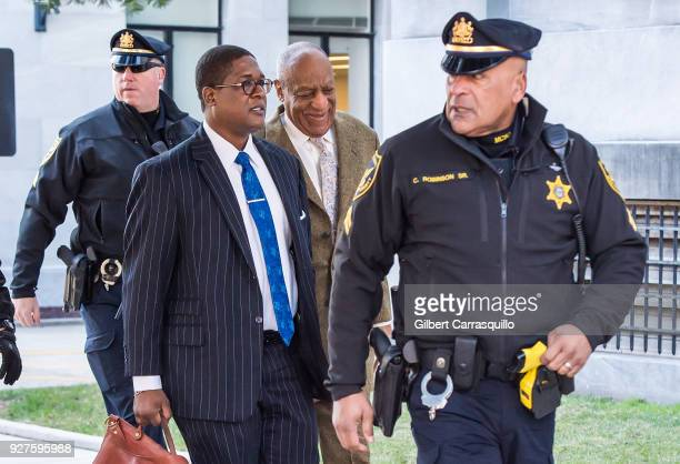 Actor/ standup comedian Bill Cosby arrives at Montgomery County Courthouse for retrial hearing on March 5 2018 in Norristown Pennsylvania