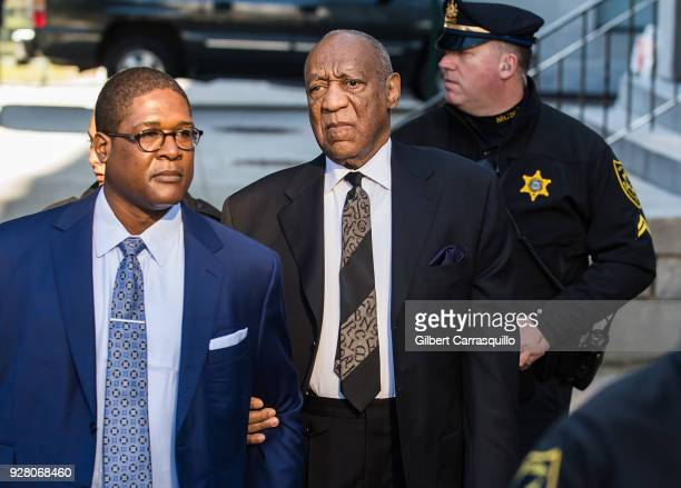 Actor/ standup comedian Bill Cosby arrives at Montgomery County Courthouse for retrial hearing on March 6 2018 in Norristown Pennsylvania