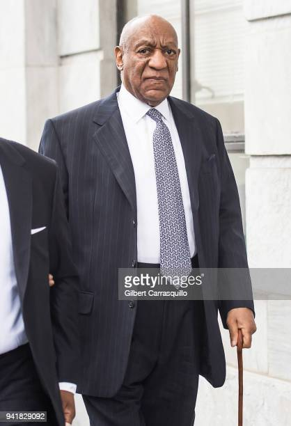 Actor/ standup comedian Bill Cosby arrives to Montgomery County Courthouse as jury selection continues for his sexual assault retrial on April 4 2018...