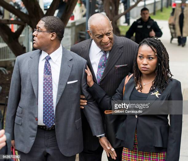 Actor/ stand-up comedian Bill Cosby arrives to Montgomery County Courthouse for the first day of his retrial for sexual assault charges on April 9,...