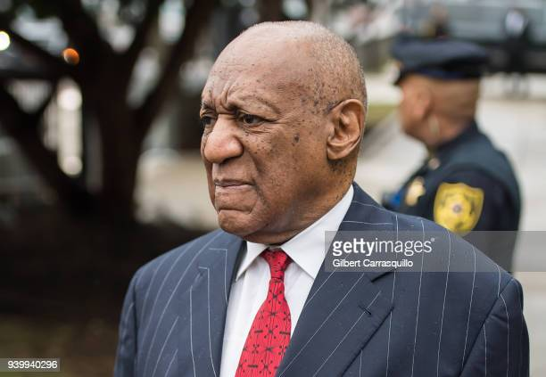 Actor/ standup comedian Bill Cosby arrives to the pretrial hearing for his sexual assault trial at Montgomery County Courthouse on March 29 2018 in...