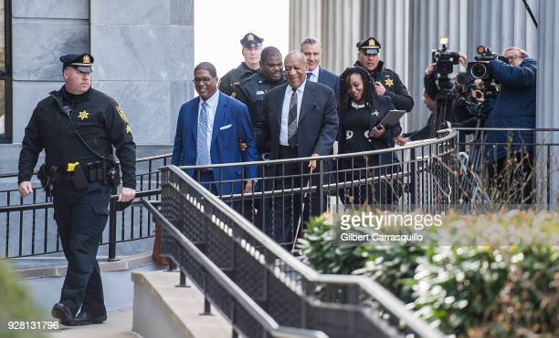 Actor/ standup comedian Bill Cosby is seen leaving the Montgomery County Courthouse after his retrial hearing on March 6 2018 in Norristown...