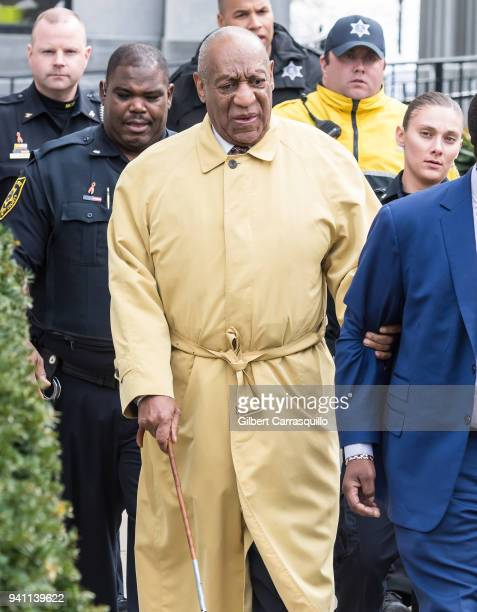 Actor/ standup comedian Bill Cosby leaving the first day of jury selection for his sexual assault retrial at the Montgomery County Courthouse on...