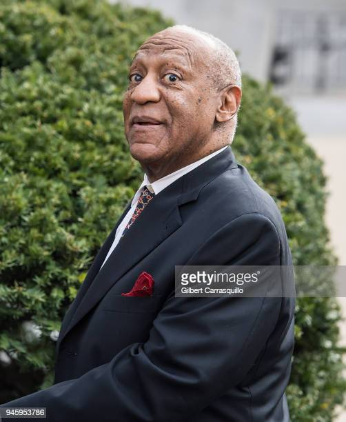 Actor/ standup comedian Bill Cosby leaving the Montgomery County Courthouse for the fifth day of his retrial for sexual assault charges on April 13...
