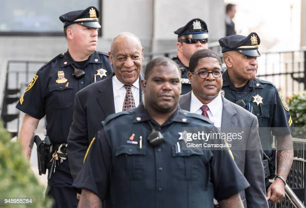 Actor/ stand-up comedian Bill Cosby leaving the Montgomery County Courthouse for the fifth day of his retrial for sexual assault charges on April 13,...