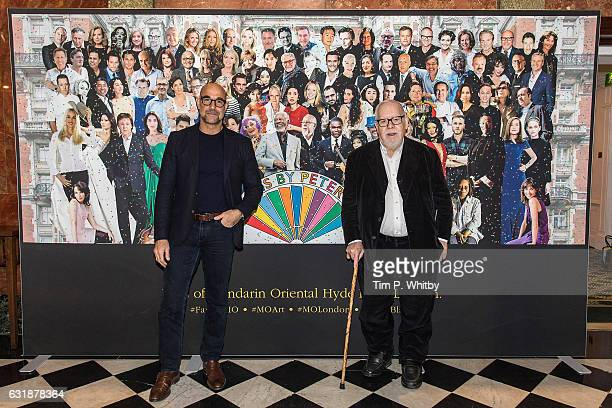 Actor Stanley Tucci and artist Sir Peter Blake pose for a photo as a new artwork 'Our Fans' by Sir Peter Blake is unveiled on January 17 2017 at...