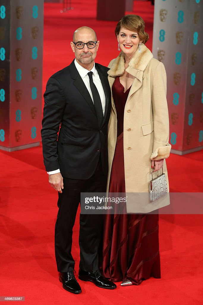 Actor Stanley Tucci and Felicity Blunt attend the EE British Academy Film Awards 2014 at The Royal Opera House on February 16, 2014 in London, England.