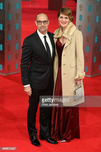 Actor Stanley Tucci and Felicity Blunt attend the EE British Academy Film Awards 2014 at The Royal Opera House on February 16 2014 in London England