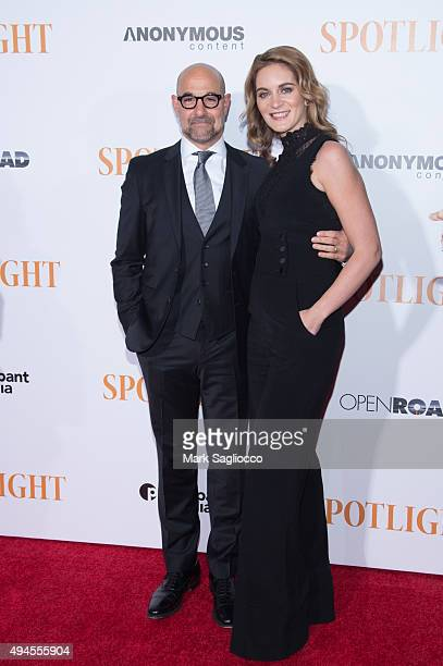 Actor Stanley Tucci and Felicity Blunt attend the Spotlight New York premiere at Ziegfeld Theater on October 27 2015 in New York City