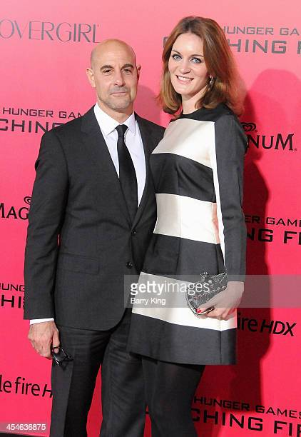 Actor Stanley Tucci and his wife/literary agent Felicity Blunt arrive at the Los Angeles Premiere 'The Hunger Games Catching Fire' on November 18...