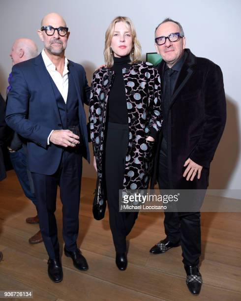 Actor Stanley Tucci and Musicians Diana Krall and Elvis Costello attend the 'Final Portrait' New York Screening After Party at Levy Gorvy Gallery on...