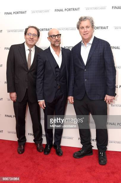 Actor Stanley Tucci and Sony Pictures Classics co-presidents Michael Barker and Tom Bernard attend the 'Final Portrait' New York Screening at...
