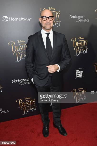Actor Stanley Tucci arrives at the New York special screening of Disney's liveaction adaptation 'Beauty and the Beast' at Alice Tully Hall on March...