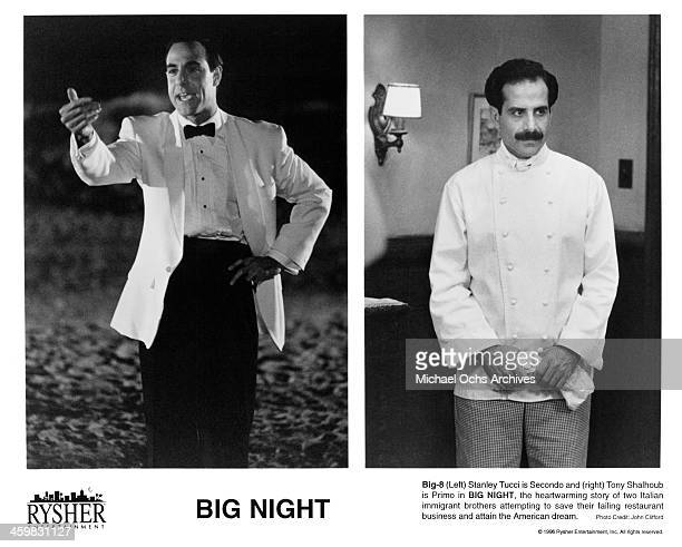 Actor Stanley Tucci on set actor Tony Shalhoub on set of the movie 'Big Night' circa 1996