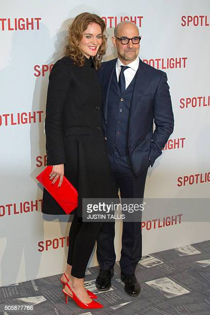 US actor Stanley Tucci poses for photographers ahead of the UK Premiere of the film 'Spotlight' in central London on January 20 2016 Nominated for...