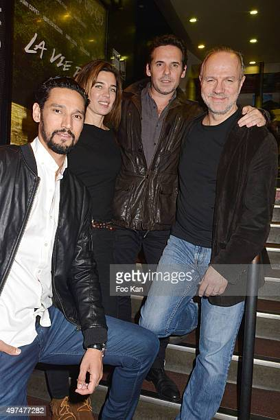 Actor Stany Coppet actress Marie Gaelle Cals director Jeremy Banster and actor Aurelien Recoing attend 'La Vie Pure' Paris Premiere at Cinema...