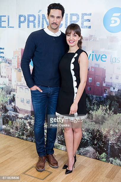 Actor Stany Coppet and actress Hiba Abouk present 'El Principe' at Mediaset Studios on February 23 2016 in Madrid Spain