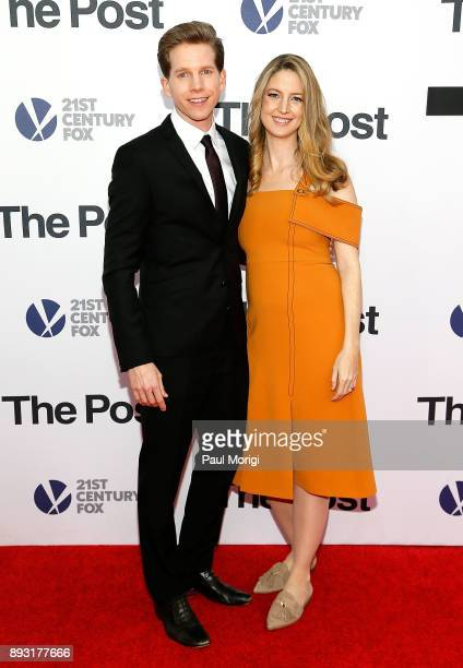 Actor Stark Sands and actress Gemma Clarke arrive at The Post Washington DC Premiere at The Newseum on December 14 2017 in Washington DC
