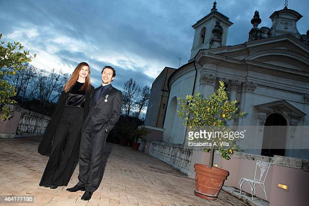 Actor Stefano Accorsi and fiancee Bianca Vitali pose at Palazzo Farnese France Embassy on January 21 2014 in Rome Italy Accorsi receives the...
