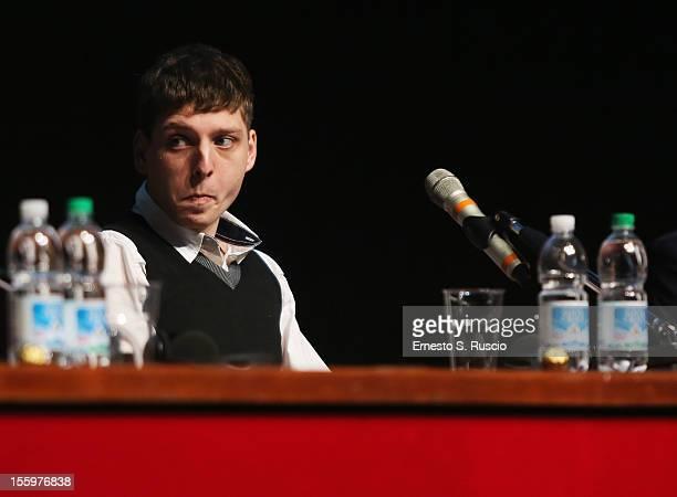 Actor Stefano Rabatti attends the Ali Ha Gli Occhi Azzurri Press Conference during the 7th Rome Film Festival at the Auditorium Parco Della Musica on...