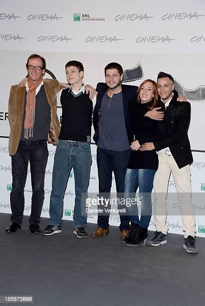 Actor Stefano Rabatti director Claudio Giovannesi and actors Brigitte Apruzzesi and Nader Sarhan attend the Ali Ha Gli Occhi Azzurri Photocall during...