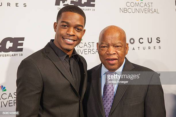 Actor Stephan James and Rep John Lewis attend the Washington DC premiere of Race at The Newseum on February 3 2016 in Washington DC