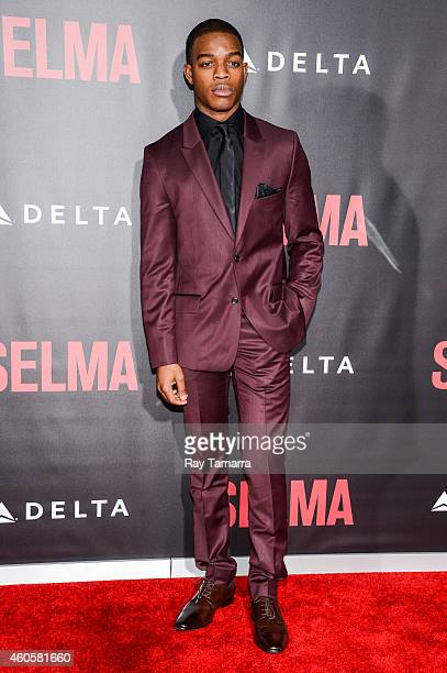 Actor Stephan James enters the Selma New York Premiere at the Ziegfeld Theater on December 14 2014 in New York City