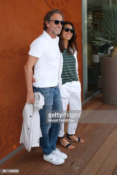Actor Stephane Freiss and his wife Ursula attend the 2018 French Open Day Nine at Roland Garros on June 4 2018 in Paris France