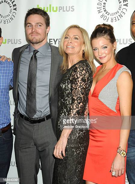 Actor Stephen Amell Actress Susanna Thompson Actress Katie Cassidy attend the 30th Annual PaleyFest The William S Paley Television Festival Honors...