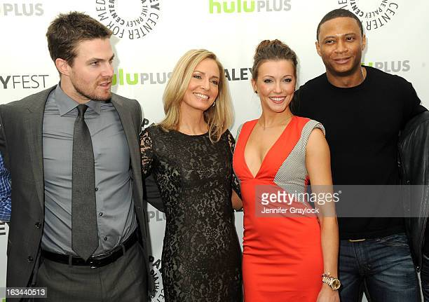 Actor Stephen Amell Actress Susanna Thompson Actress Katie Cassidy and Actor David Ramsey attend the 30th Annual PaleyFest The William S Paley...