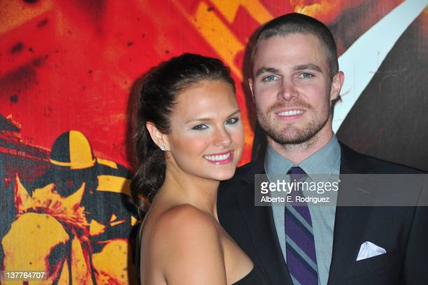 """Actor Stephen Amell and Cassandra Jean arrive to the premiere of HBO's new series """"Luck"""" at Grauman's Chinese Theatre on January 25, 2012 in..."""